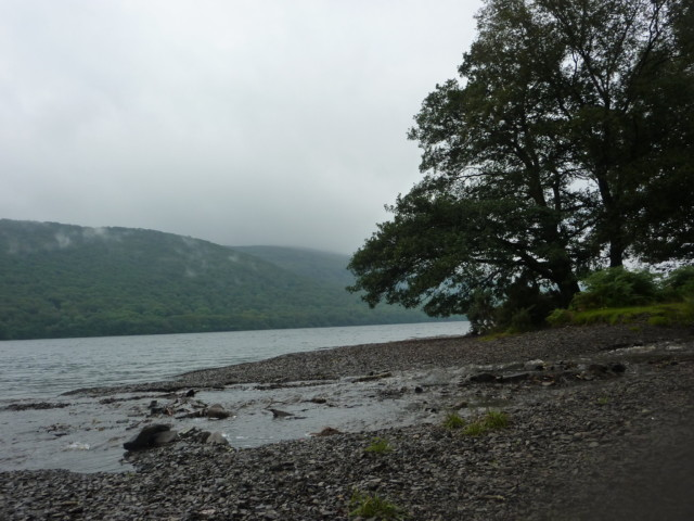 A shingle 'beach' on the side of Coniston Water
