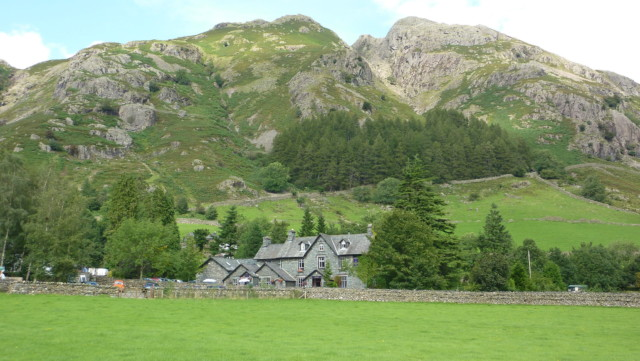 New Dungeon Ghyll pub surrounded by hills
