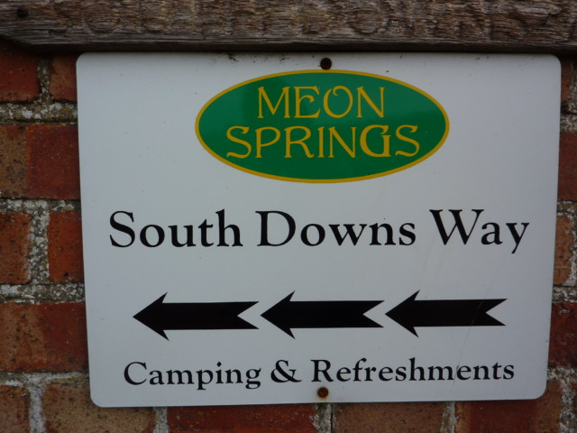 Signpost for Meon Springs Campsite