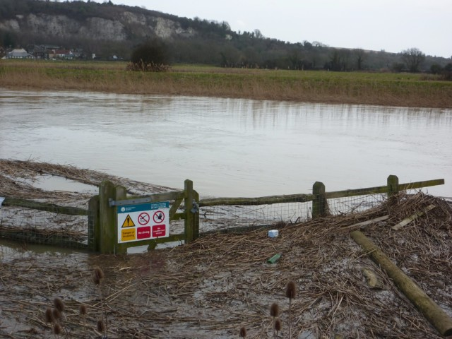 Flooded fields near the South Downs Way at Amberley