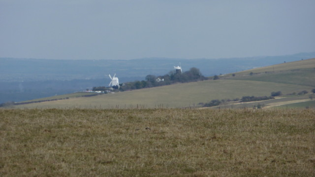 Windmills known as Jack and Jill on the South Downs Way