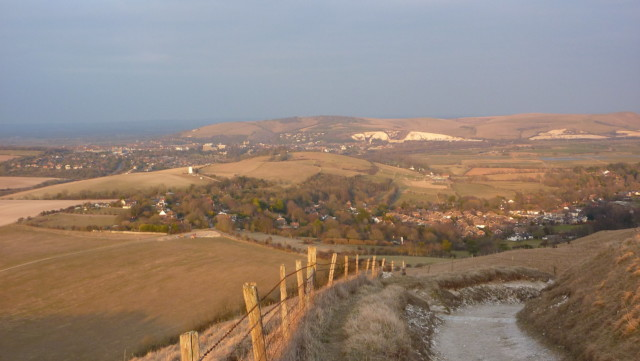 Kingston and Lewes in the distance as the sun begins to set