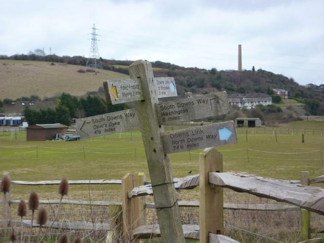 A wonky signpost near Upper Beeding