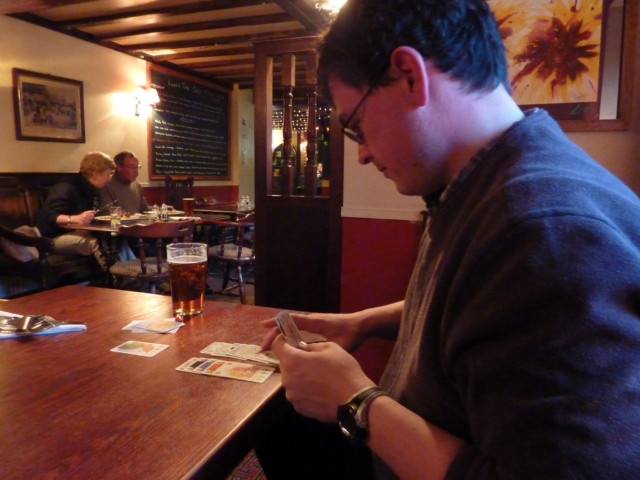 Playing cards in the pub