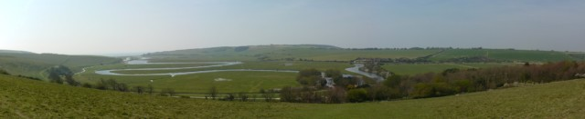 Panoramic photograph of Cuckmere Haven