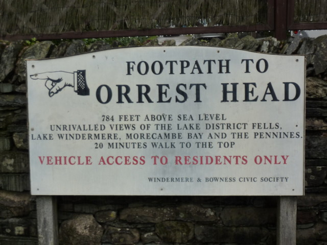Ornate footpath sign pointing to Orrest Head