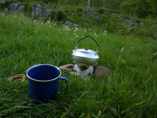 Camping stove and kettle on the grass