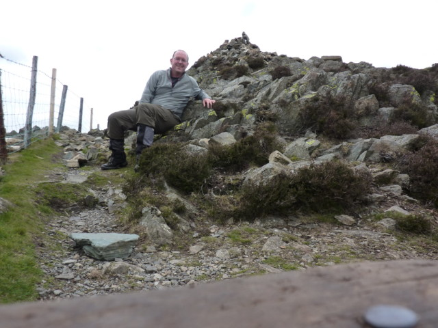 The author sitting at the top of Lingmoor Fell