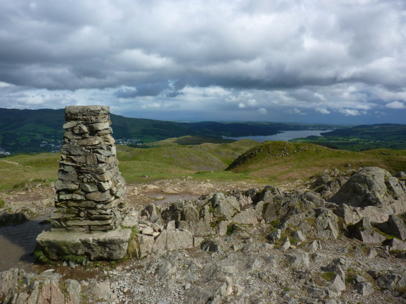 Trig point at the summit of Loughrigg Fell
