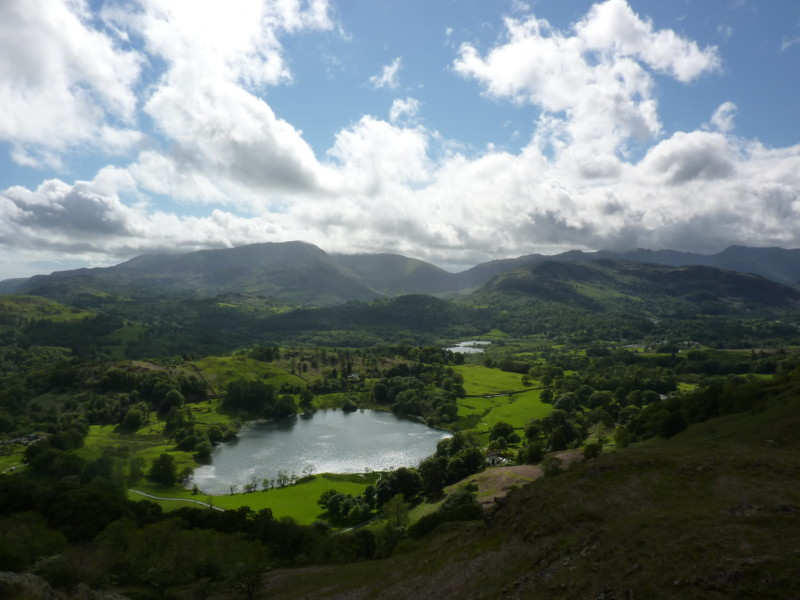 Loughrigg Tarn surrounded by fells