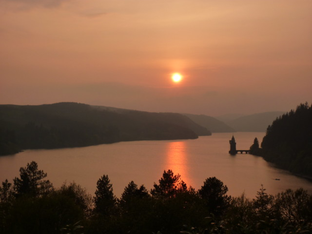 Setting sun over Lake Vyrnwy