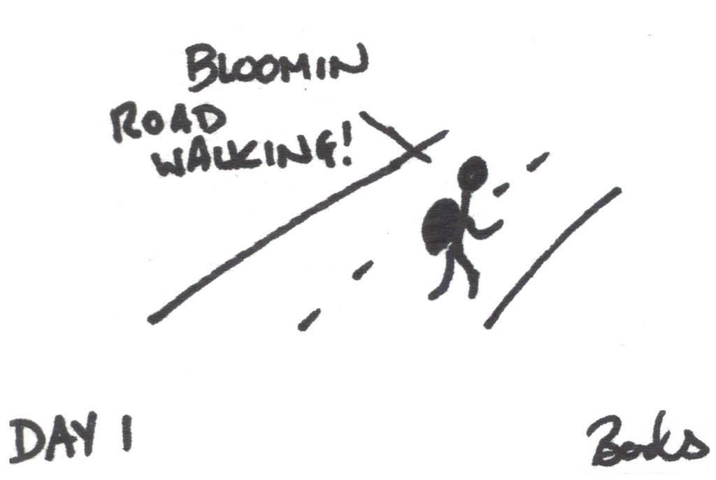 Cartoon of someone walking on a road, with caption 'Bloomin road walking!'