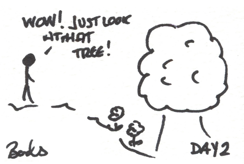Cartoon of a tree, with the caption 'Wow!  just look at that tree!'