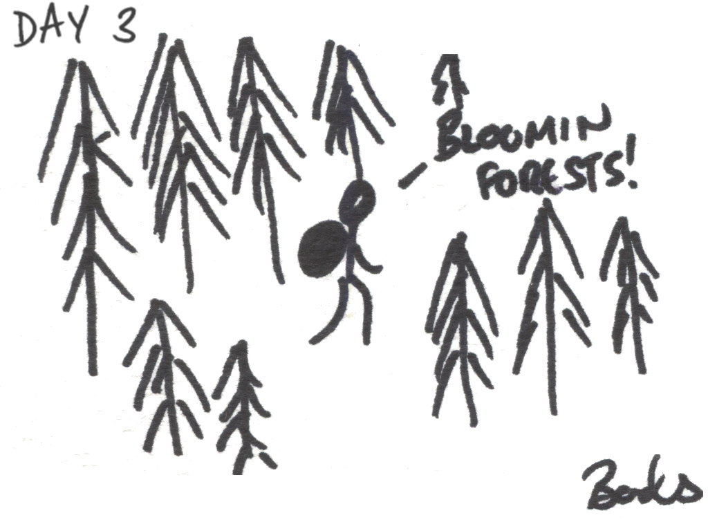 "Cartoon of a walker in a forest saying ""Bloomin' forest"""
