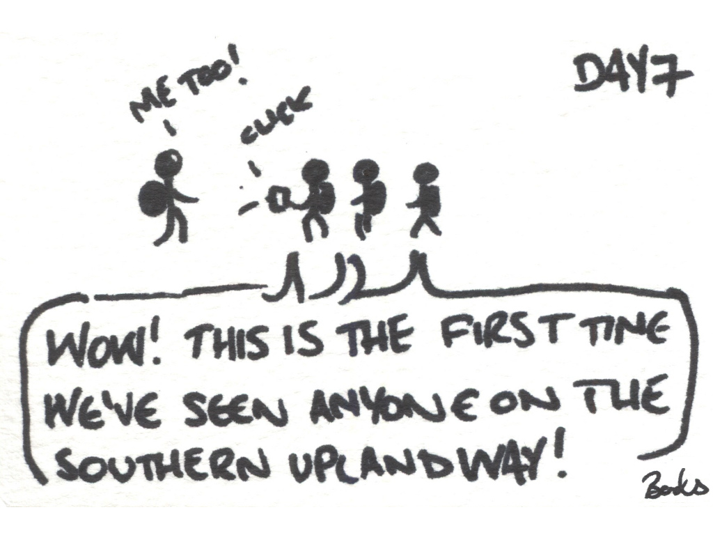 "Cartoon of some walkers meeting each other going ""Wow! This is the first time I've seen anyone on the Southern Upland Way!"""
