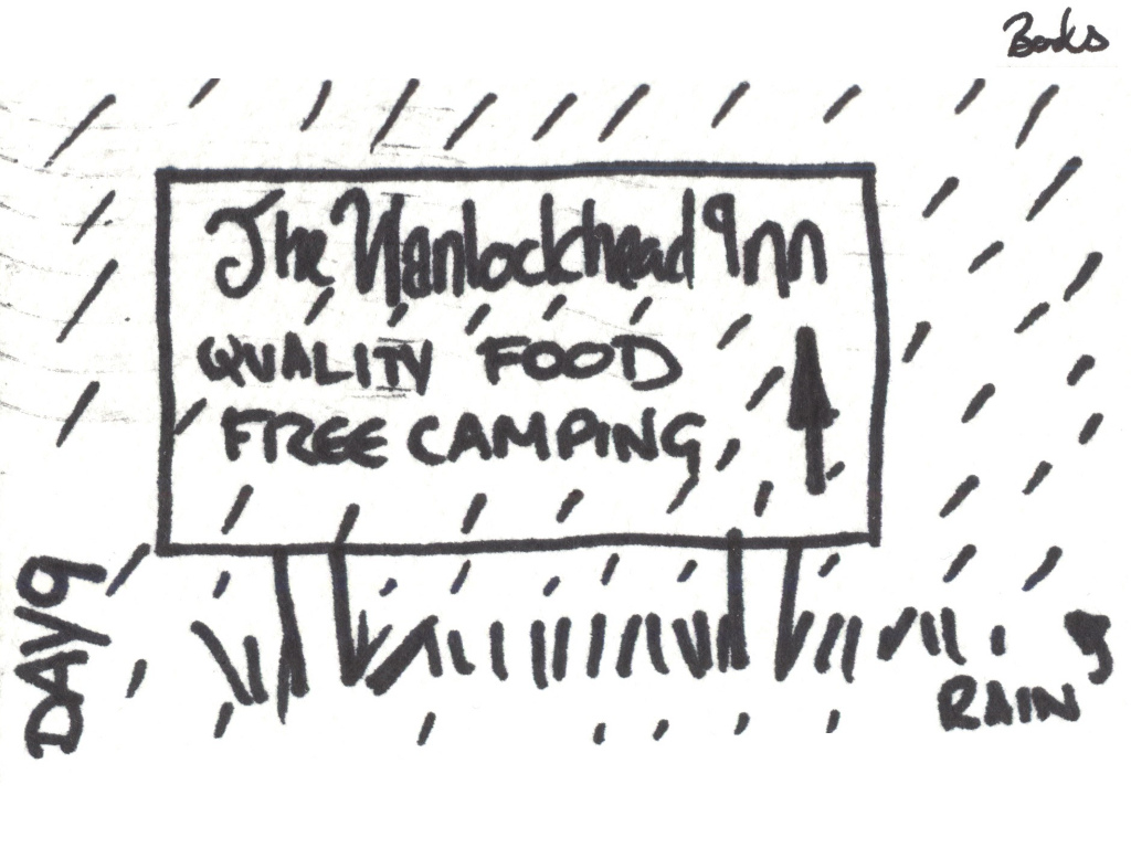 "Cartoon of a sign saying 'Wanlockhead Inn. Quality food, free camping"" with rain falling all over it."