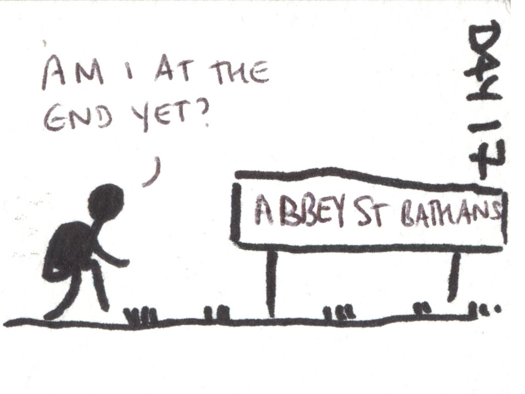 "Cartoon of a walker next to a sign saying ""Abbey St Bathans"", saying ""Am I at the end yet?"""