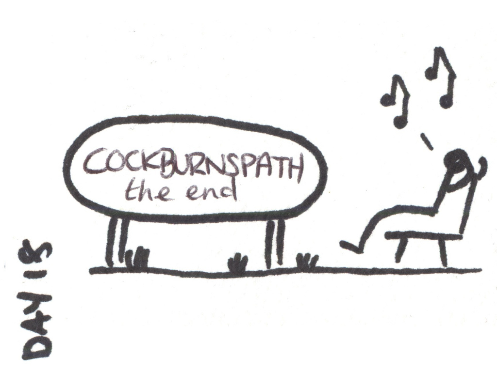 Cartoon of a walker sat on a bench at the end of the Southern Upland Way