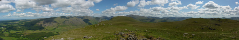 A panoramic view from Whin Rigg with Illgill Head in the centre