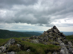 Stone cairn from the summit of High Pike