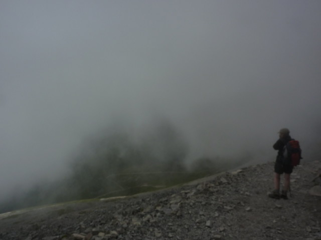 Looking from the side of Ben Nevis into cloud