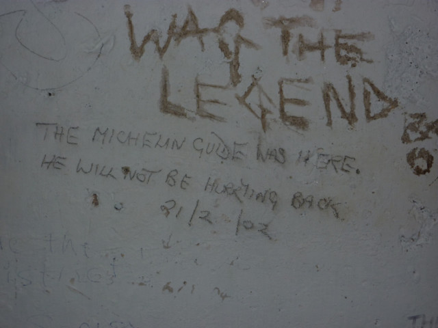 Graffitti on the walls of Skiddaw House's shelter room
