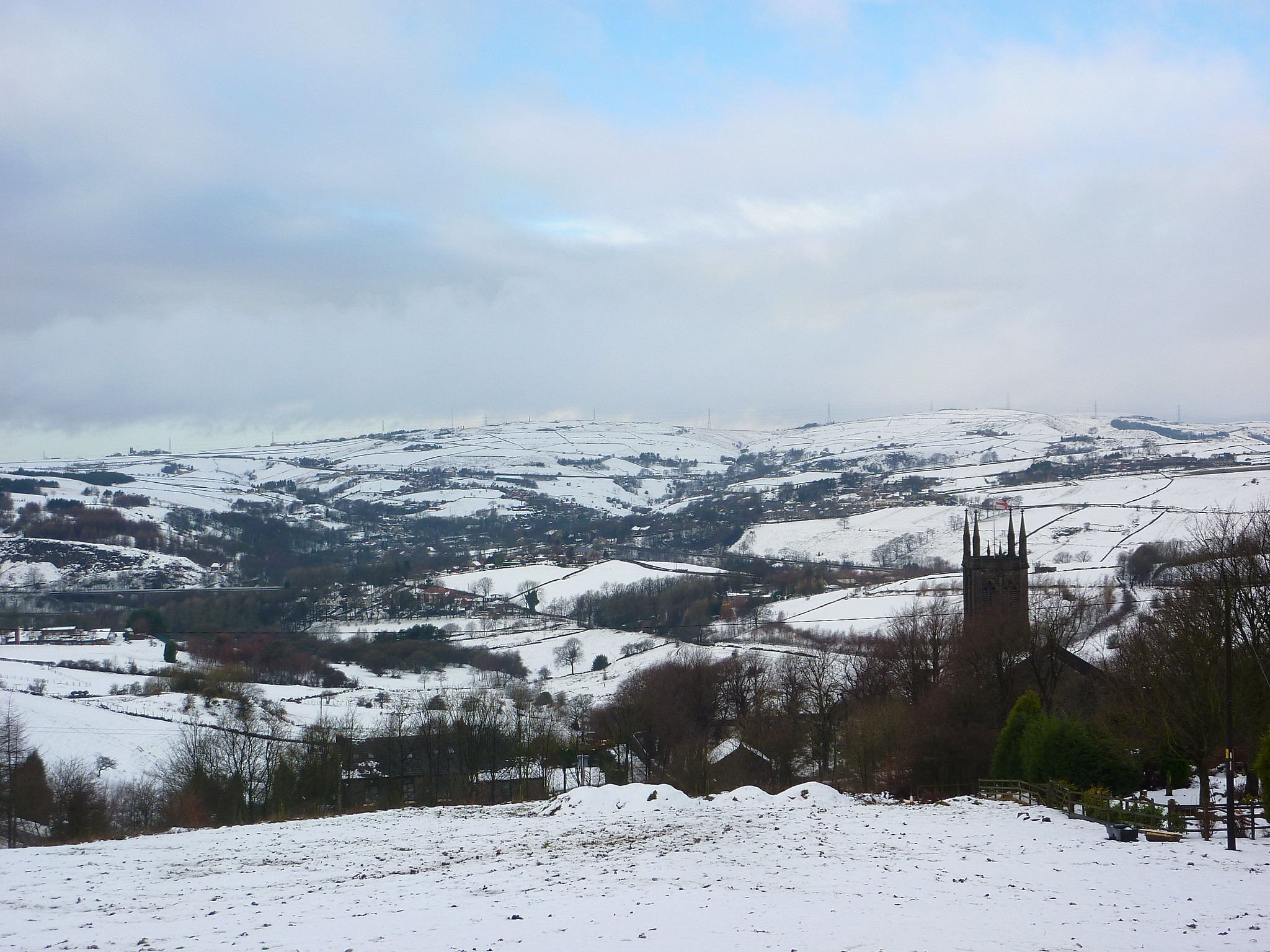 The snowy landscape near St Chad's Church, Saddleworth