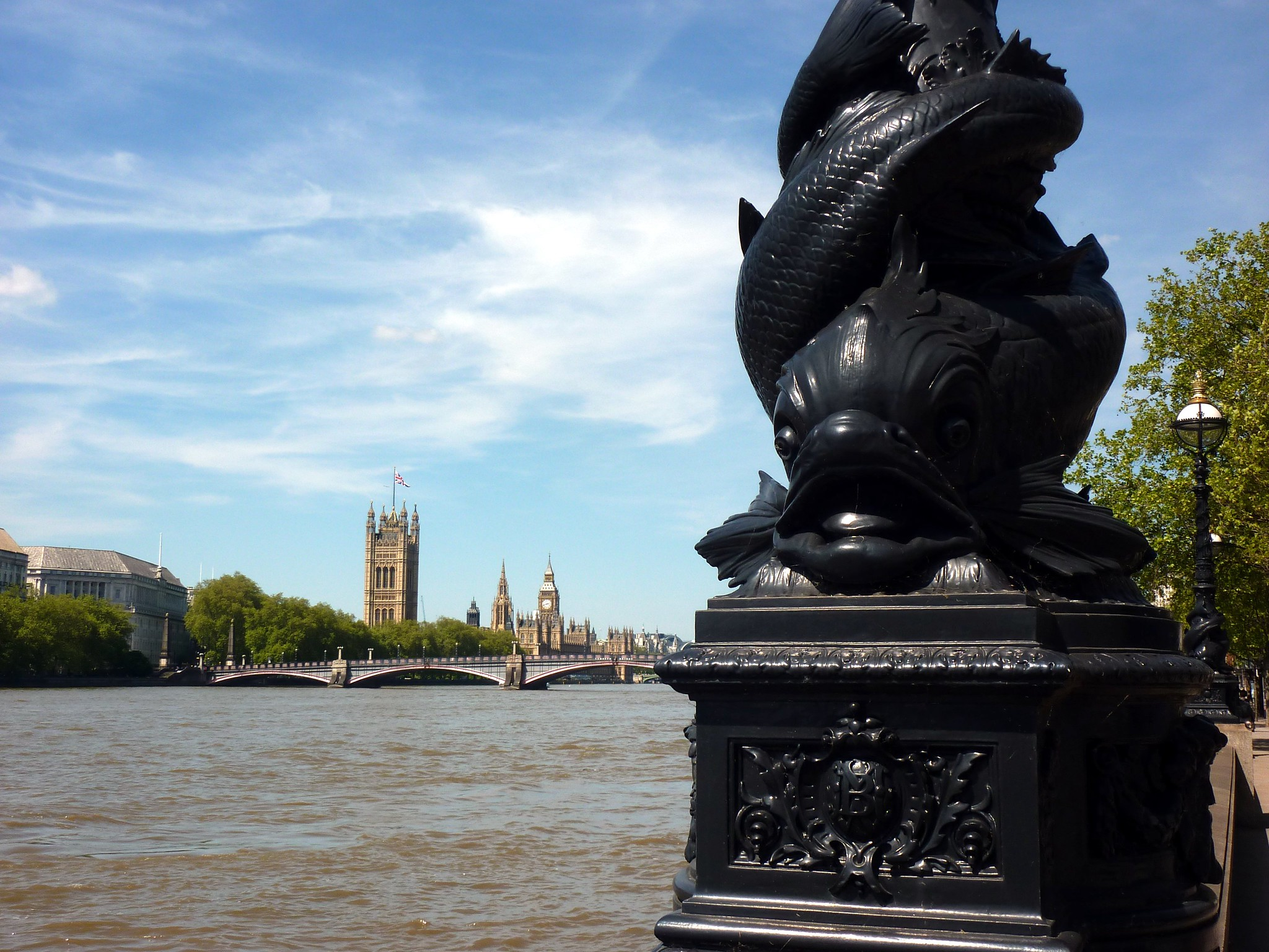 Sturgeon Lampost on the bank of the Thames