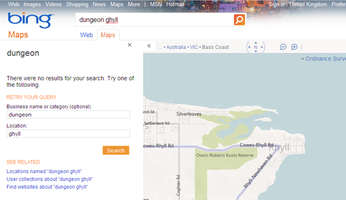 Bing Map's search results for Dungeon Ghyll