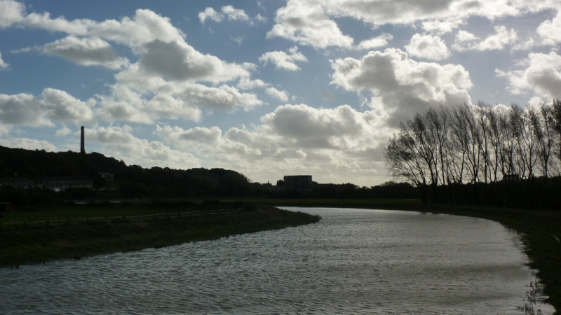 River Adur, with the chimney of Shoreham cement works