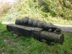 Bench shaped like a train, near Shoreham-by-Sea