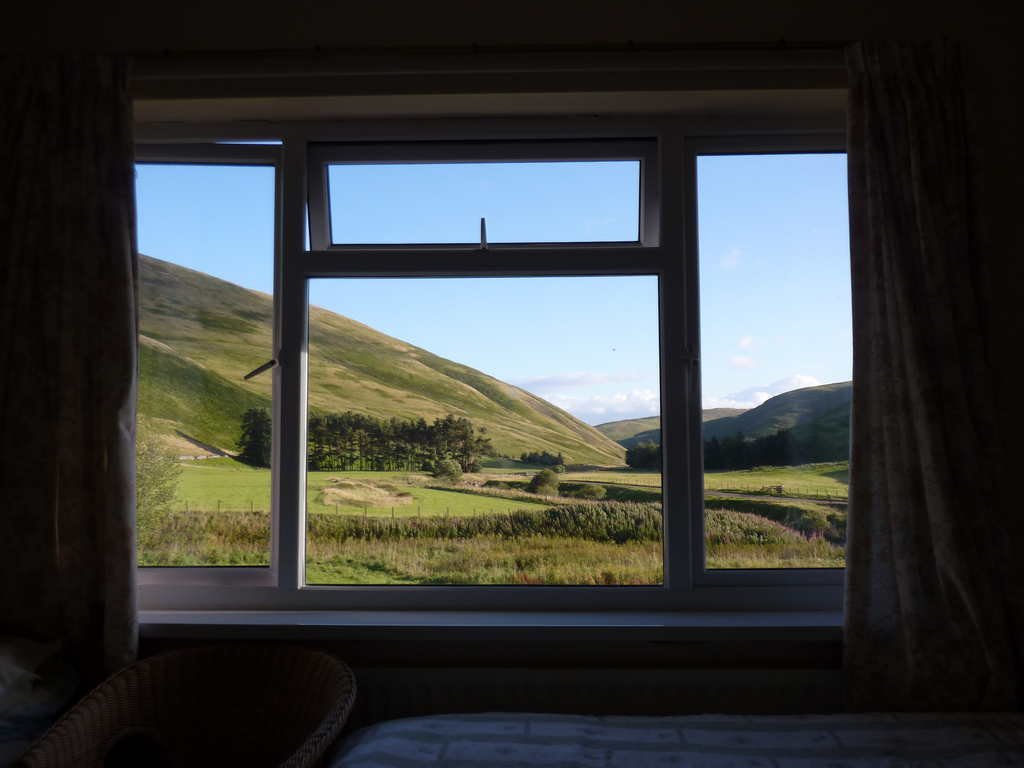 View out of the bedroom window at Barrowburn