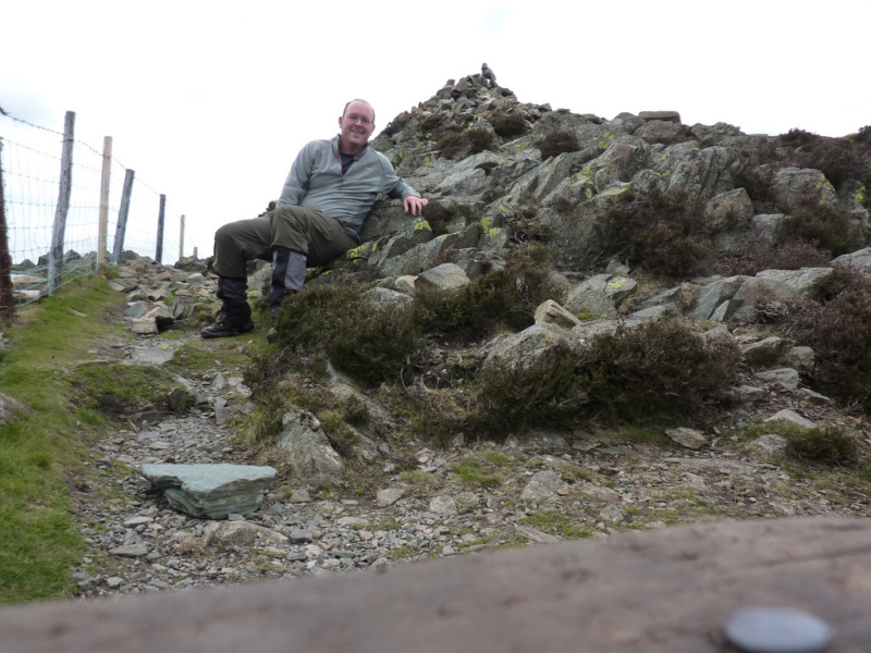 Celebrating at the top of Lingmoor Fell