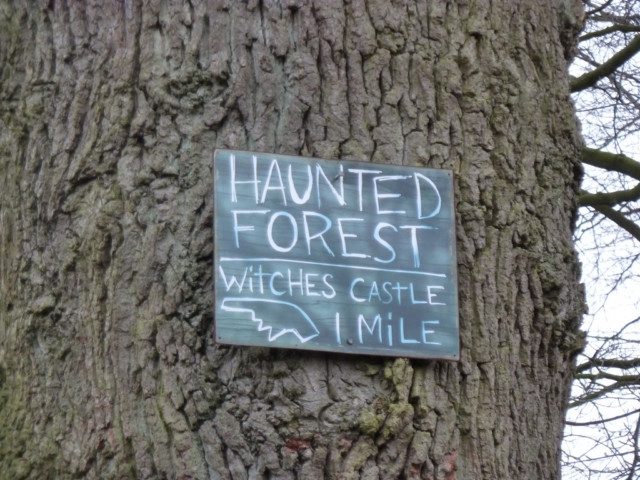 "Sign saying ""Haunted Forest, Witches Castle 1 mile"""