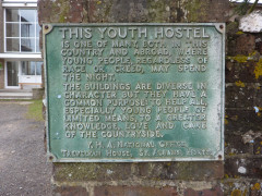 Sign explaining about youth hostels, and the diverse nature of their buildings
