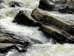Water crashing over the rocks of the River Feshie, on the East Highland Way