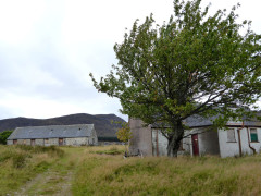 Old, boarded up, farm buildings at Glenballoch farm, in Glen Banchor