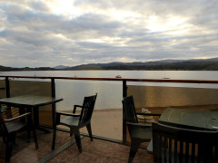 View from the terrace of Loch Insh Watersports Centre's terrace