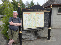 Stood next to the Speyside Way information board in Aviemore, at the end of the East Highland Way