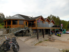 The bar and restaurant building at the Loch Insh Watersports Centre