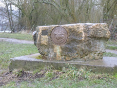 Large stone with a plaque on it declaring it to be owned by the 'Oxford Heritage Trust'