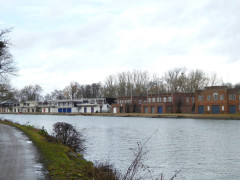 Boat houses belonging to the colleges of Oxford University