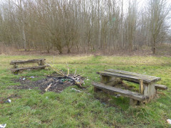 Vandalised picnic bench on the outskirts of Abingdon