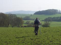 Walking through farmland on the Pennine Way