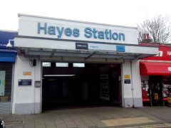 The entrance to Hayes station