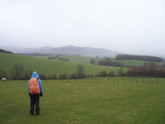 Standing in a field, looking at a hill in mist