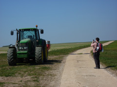 Jacko taking a photograph of a tractor on the South Downs Way