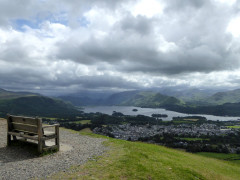 Bench near the summit of Latrigg with a view of Keswick and Derwent Water
