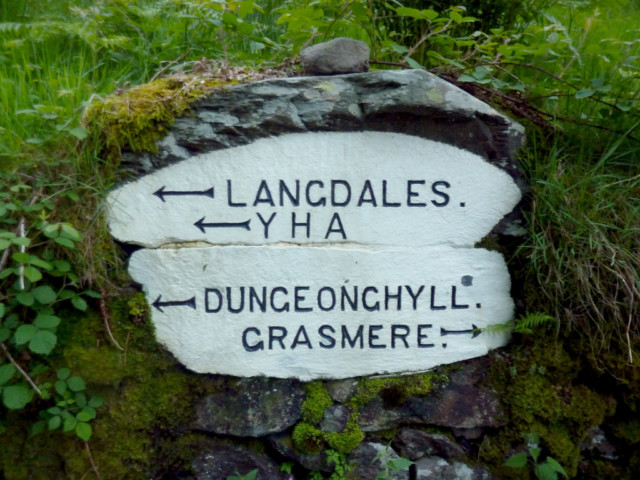 Sign for Langdale YHA set in a rock