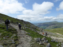The Corridor Route meets the Wasdale Path near the top of Scafell Pike